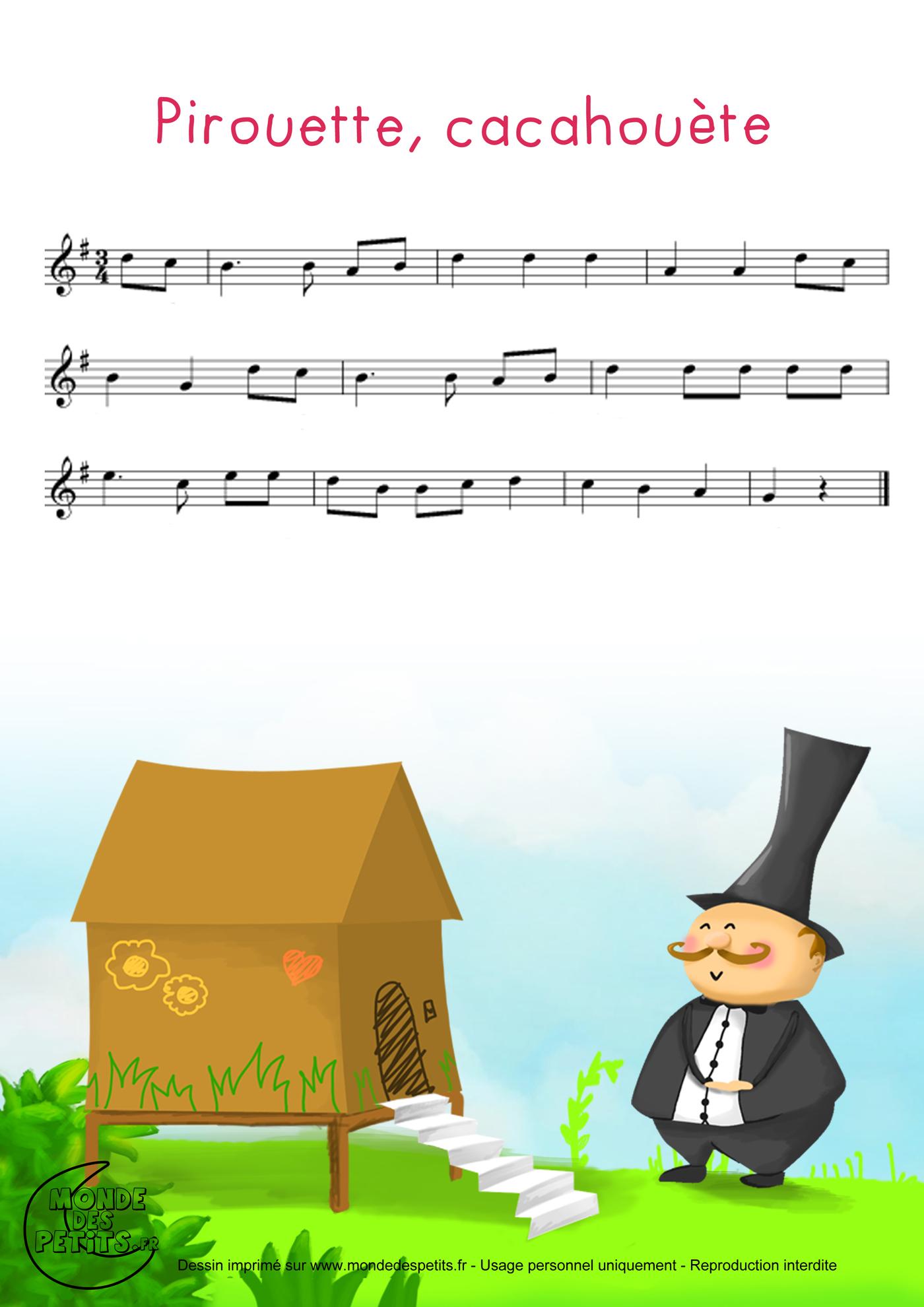 comptine, chanson, enfant, parole, pirouette, cacahuete, petit, homme,partition