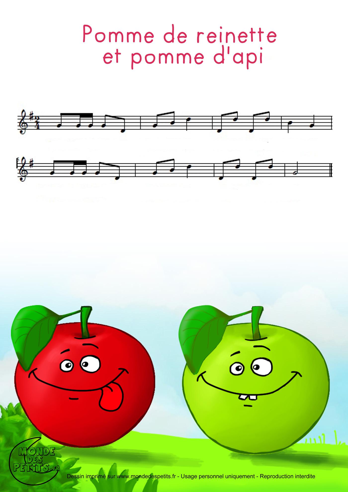 comptine, chanson, enfant, parole, pomme, reinette, api, partition