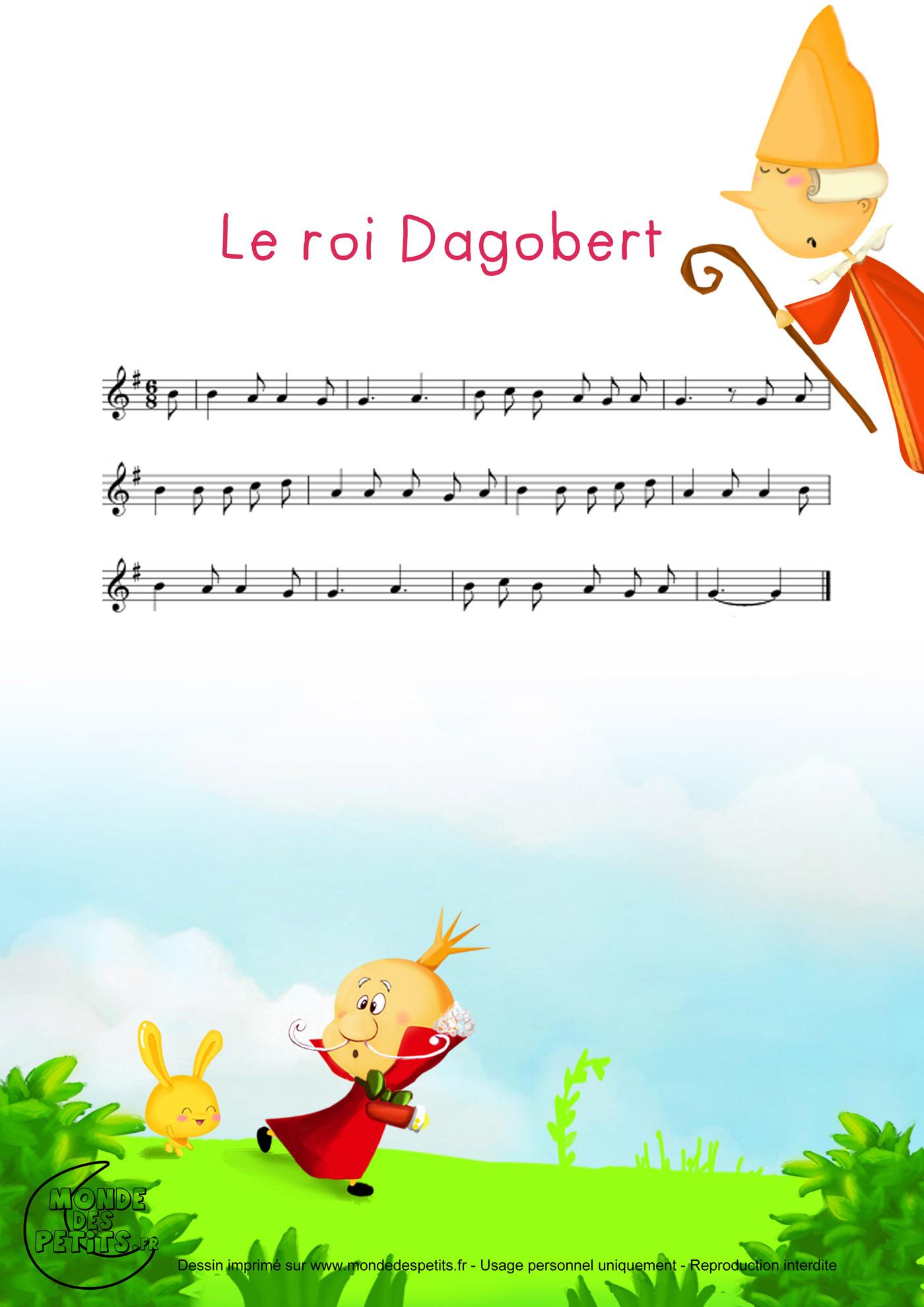 roi, dagobert, bon, vidéo, comptine, chanson, enfant, paroles, partition,