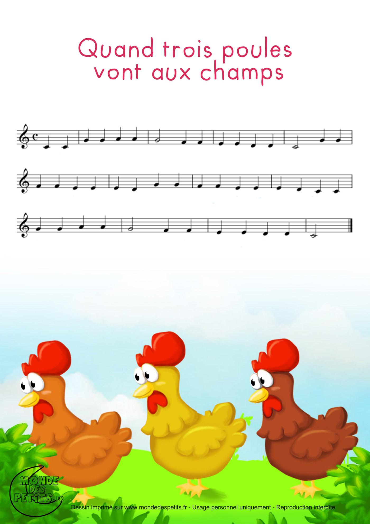 partition, vidéo, paroles, enfant, chanson, imprimer, poules, trois, champs,