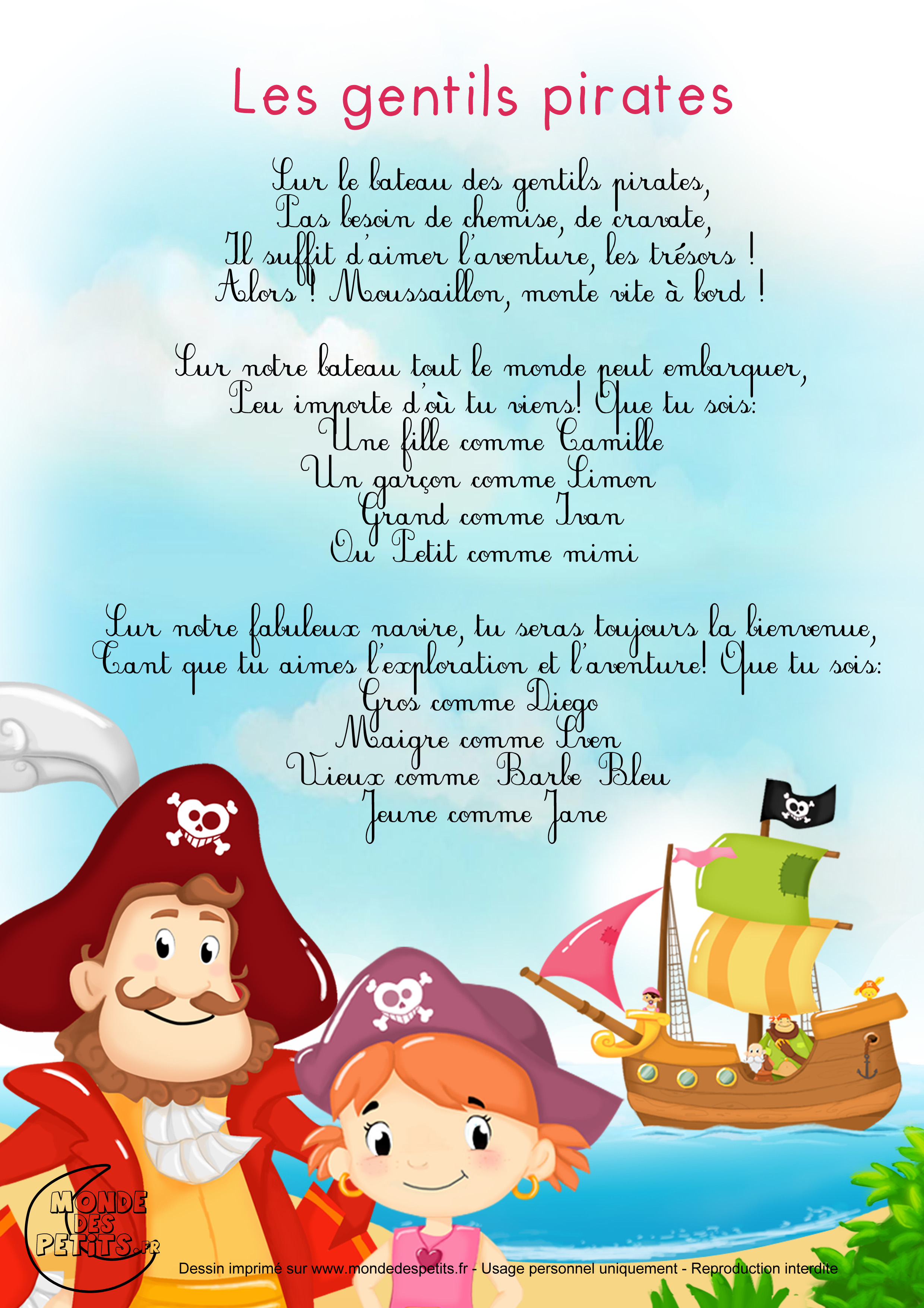 chanson, comptine, enfant, pirate, bébé, mousaillon, monde, petit,