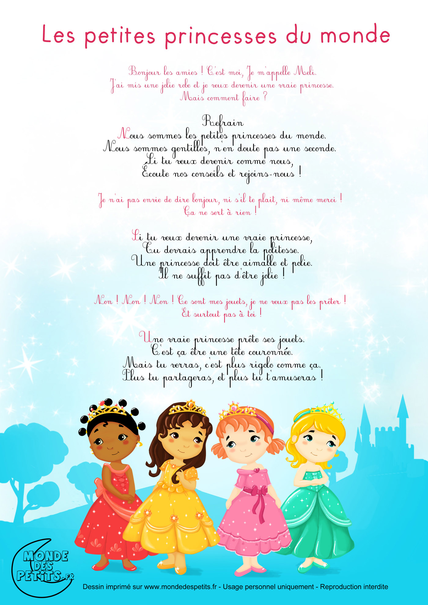 chanson, comptines, princesses, monde, enfant, petite,