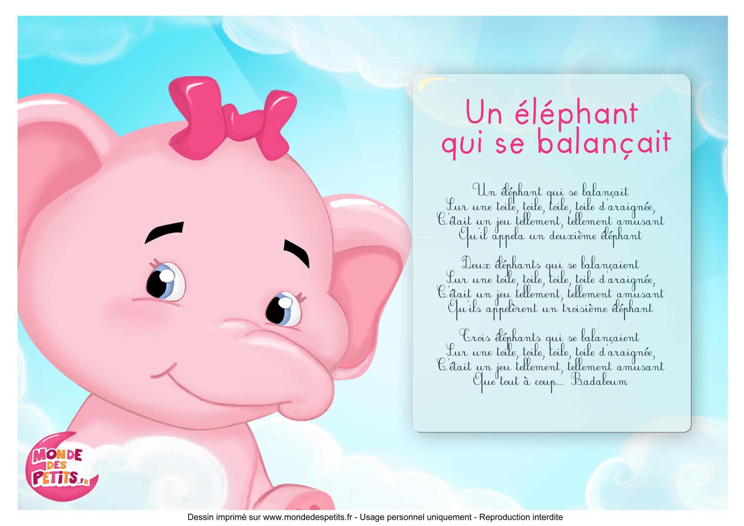 Monde Des Petits Un éléphant Qui Se Balançait Titounis