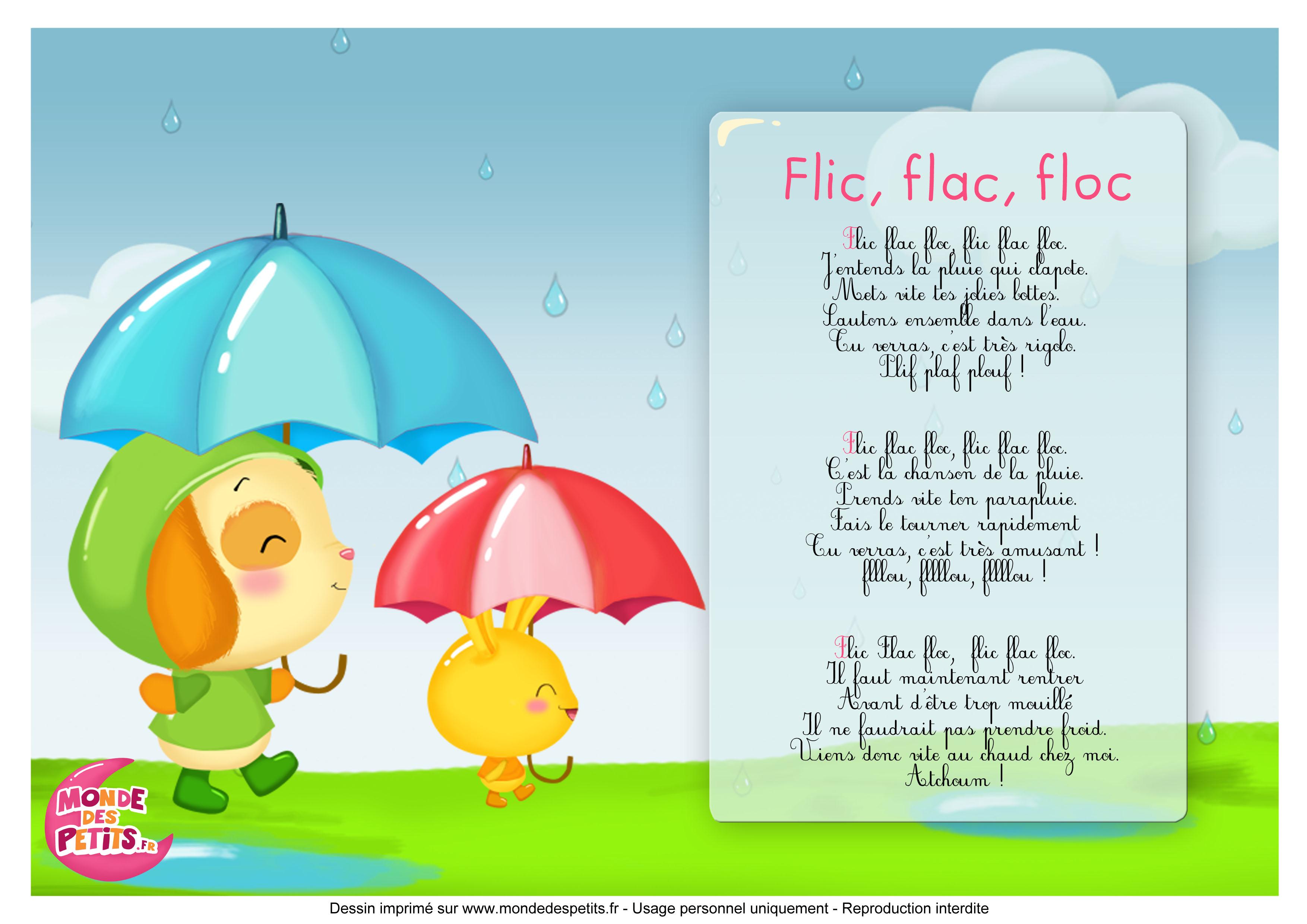 Flic, flac, floc, la chanson de la pluie