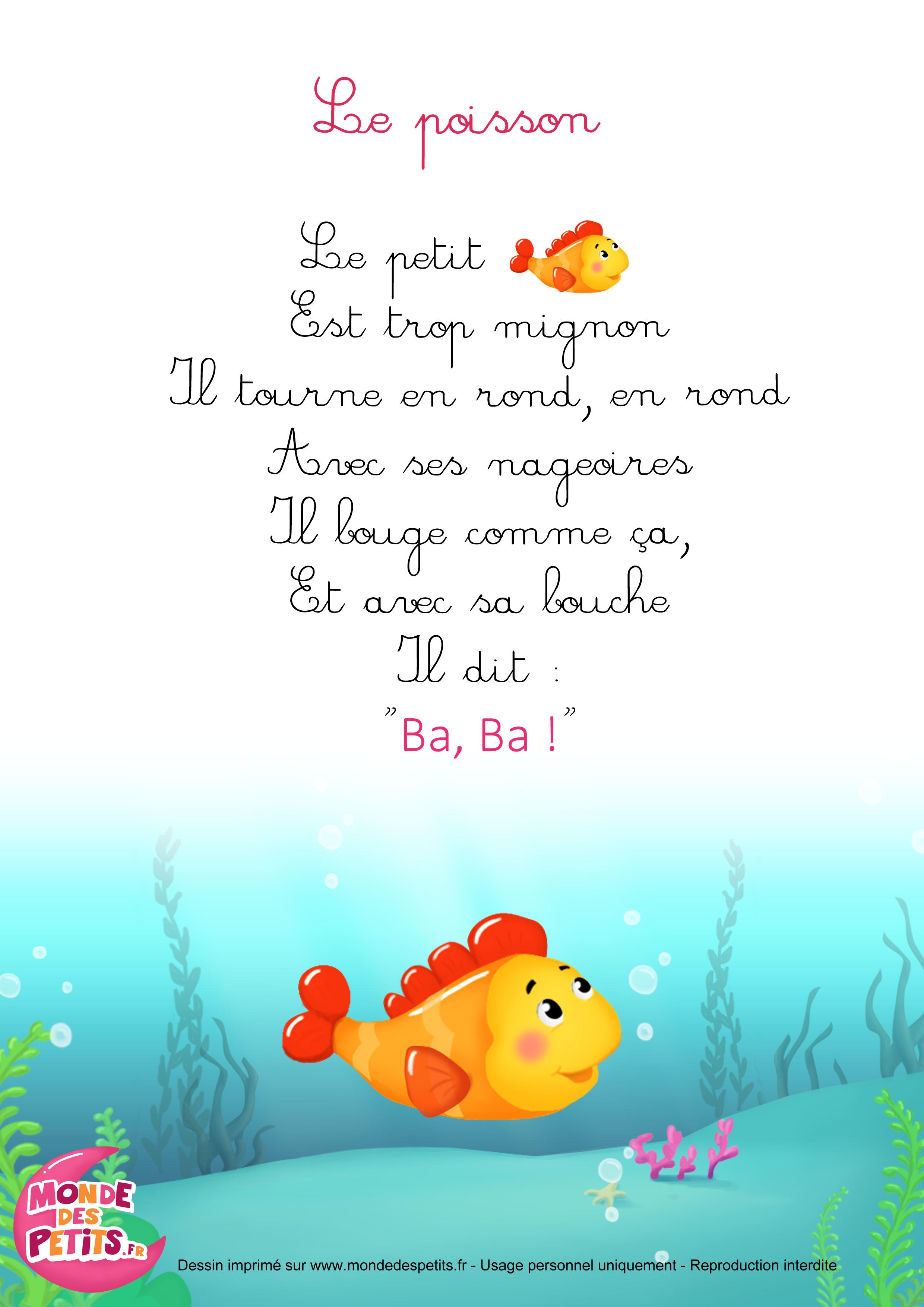 parole chanson un petit poisson dans l'eau
