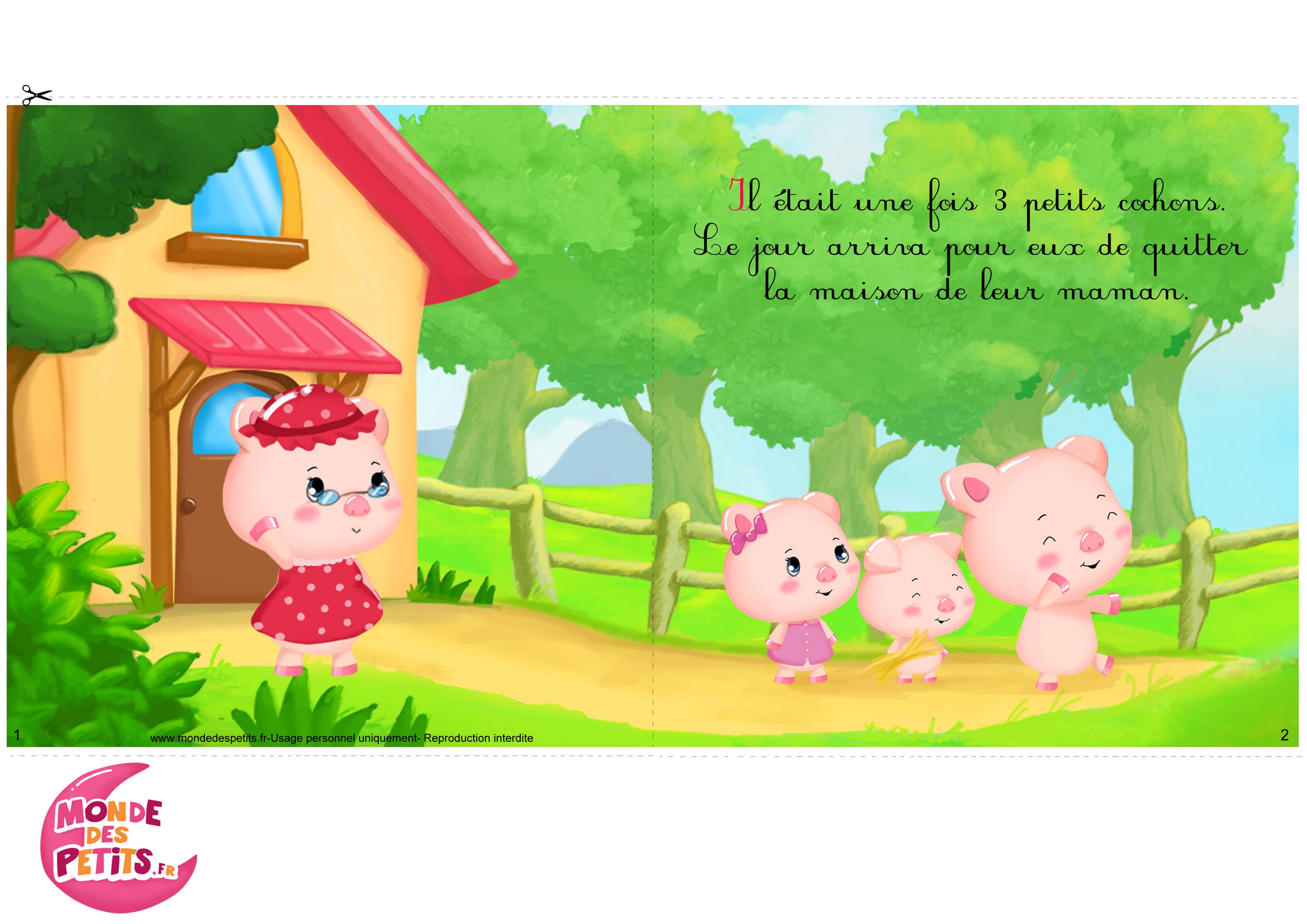 Monde des petits imprimer - Dessin 3 petit cochon ...