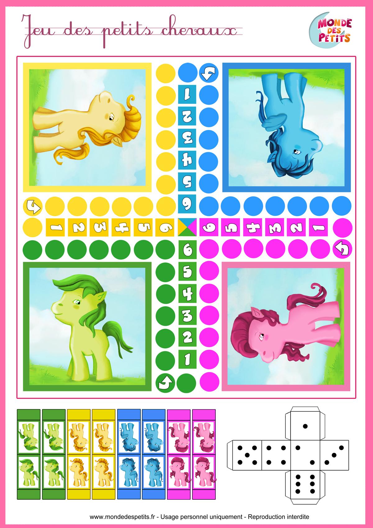 Coloriage - Jeu des petits chevaux