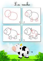 Comment dessiner une vache - Vache dessin facile ...
