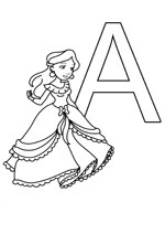 Coloriage de l'alphabet des princesses